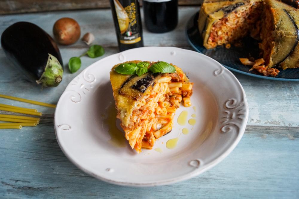 Sizilianischer Auberginen Pasta Auflauf
