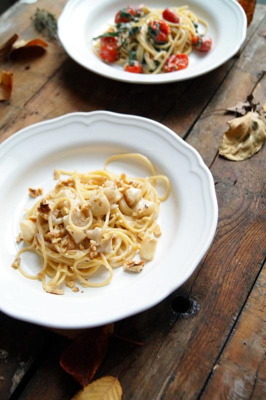 Spaghetti mit Birnen und Gorgonzola