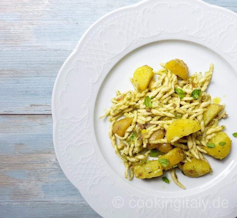 Trofie al Pesto e patate - Trofie mit Basilikum Pesto und Kartoffeln
