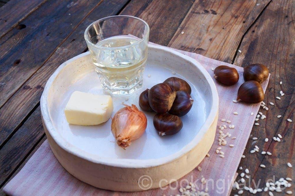 Kastanien Risotto mit Salami und Trüffelöl