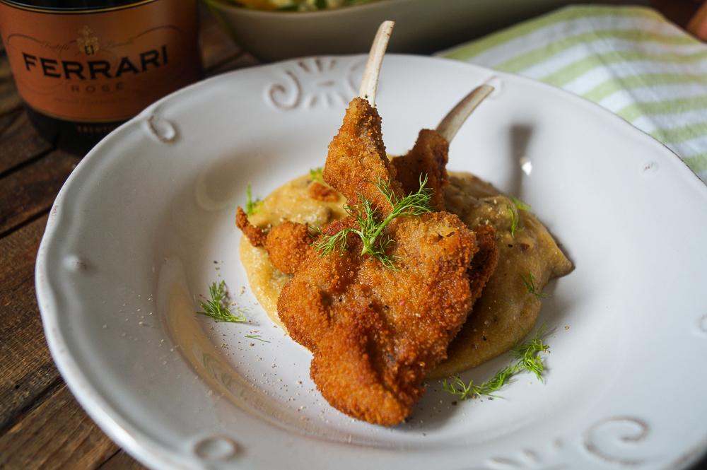 Lammkoteletts auf Steinpilz Polenta mit Orangen Fenchel Salat