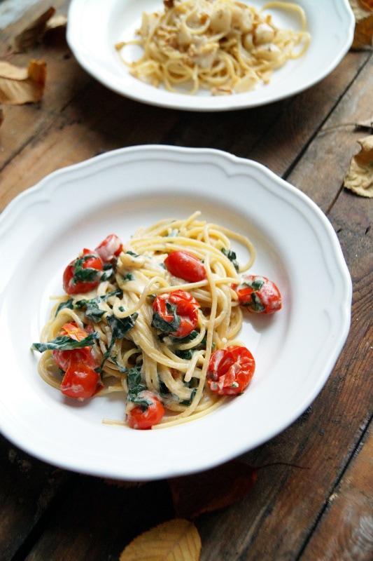 Gorgonzola spinaci e pomodorini