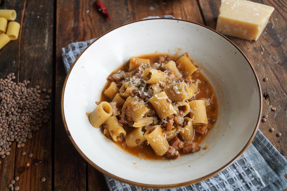 Pasta Lenticchie  - Pasta mit Speck und Linsen