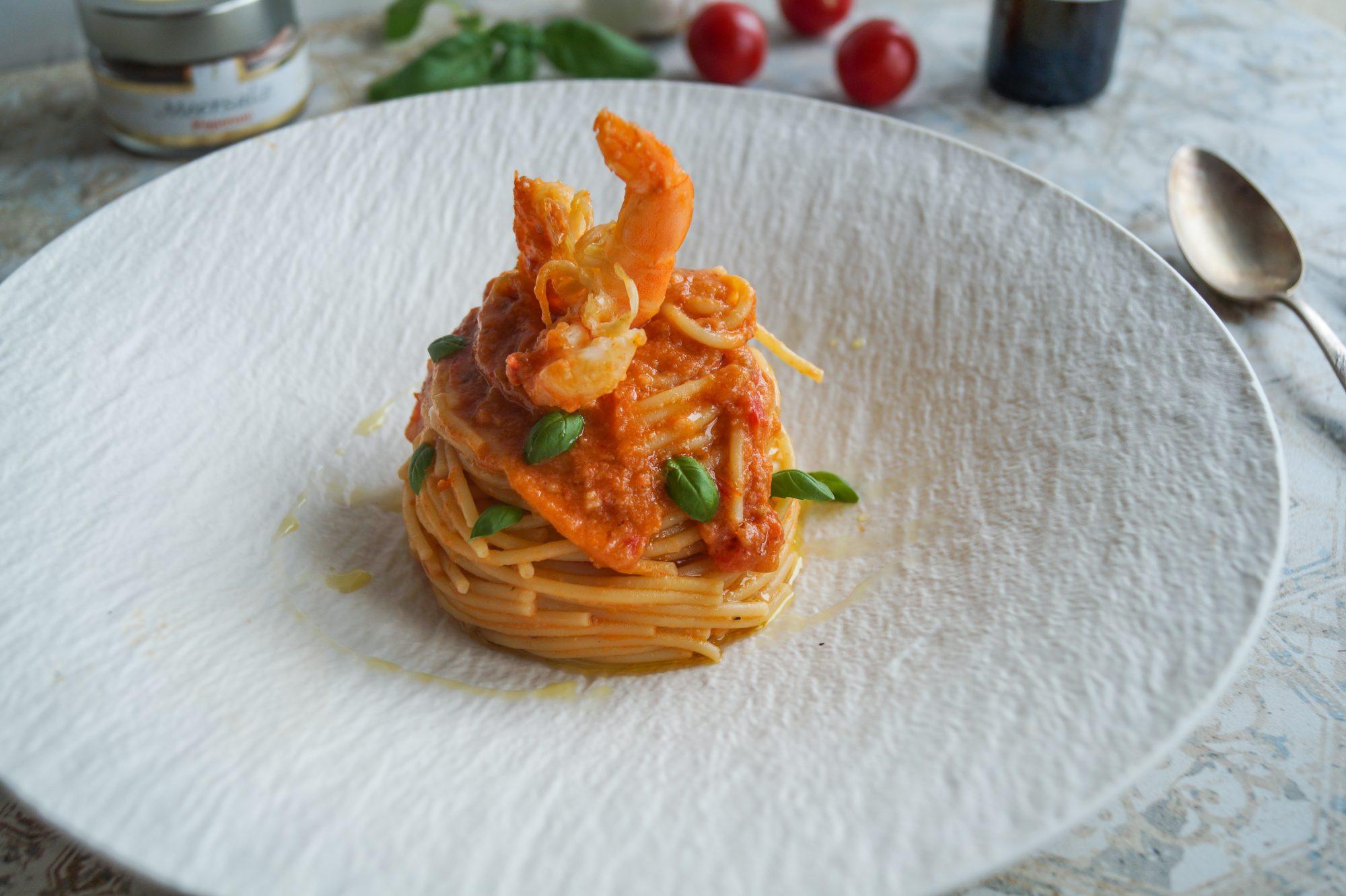 Spaghetti alla Siciliana con crema di Gamberi