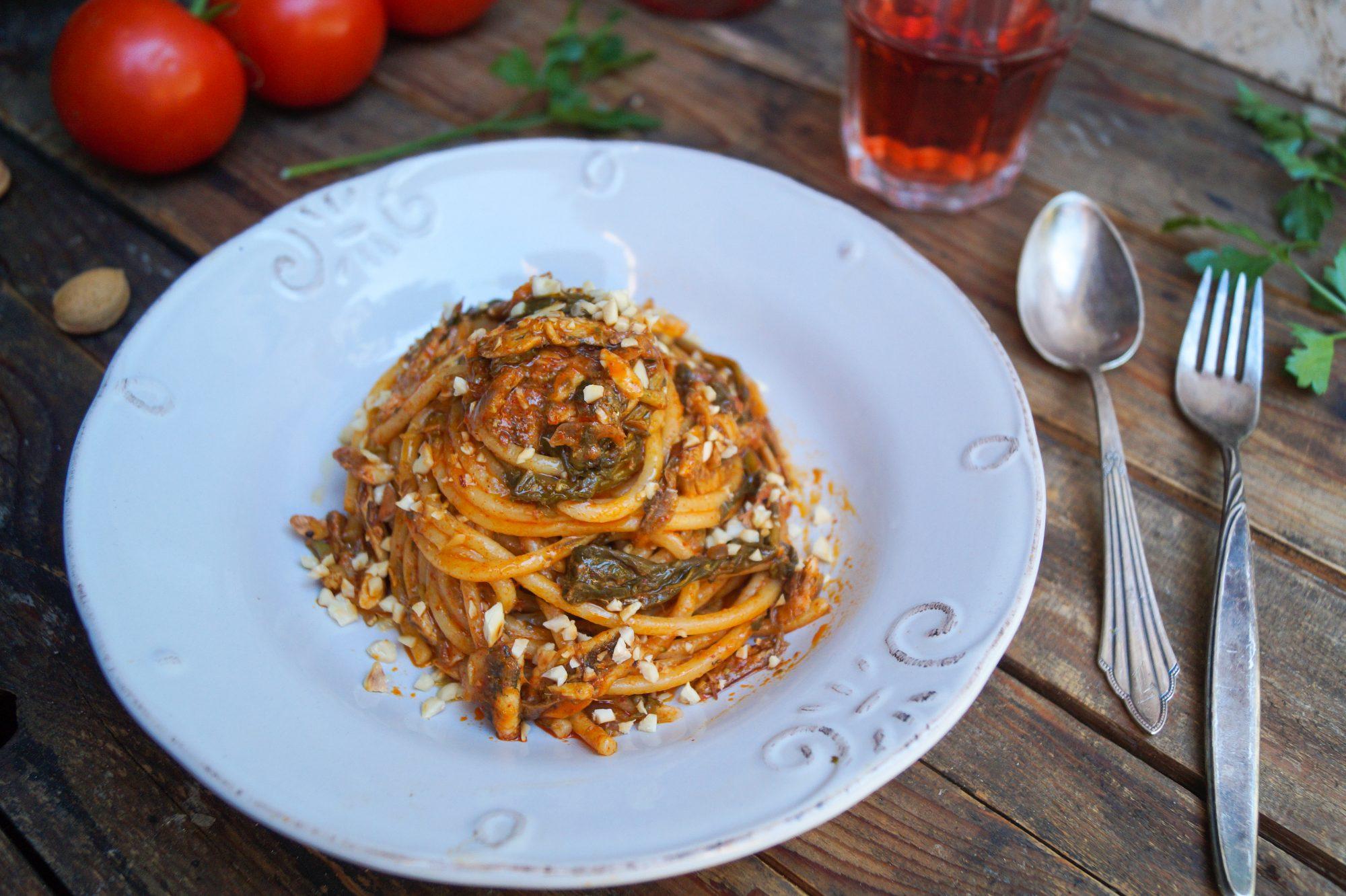 Spaghetti alla chitarra al sugo di sardella e cime di rapa